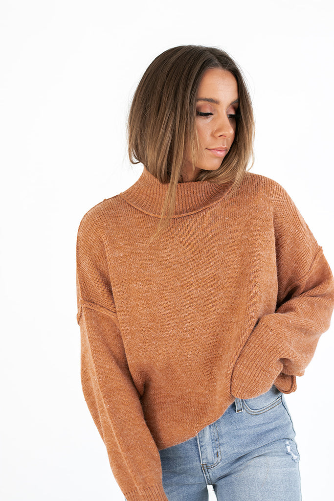 benny mock neck sweater // caramel