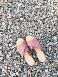 criss cross sandals in mauve