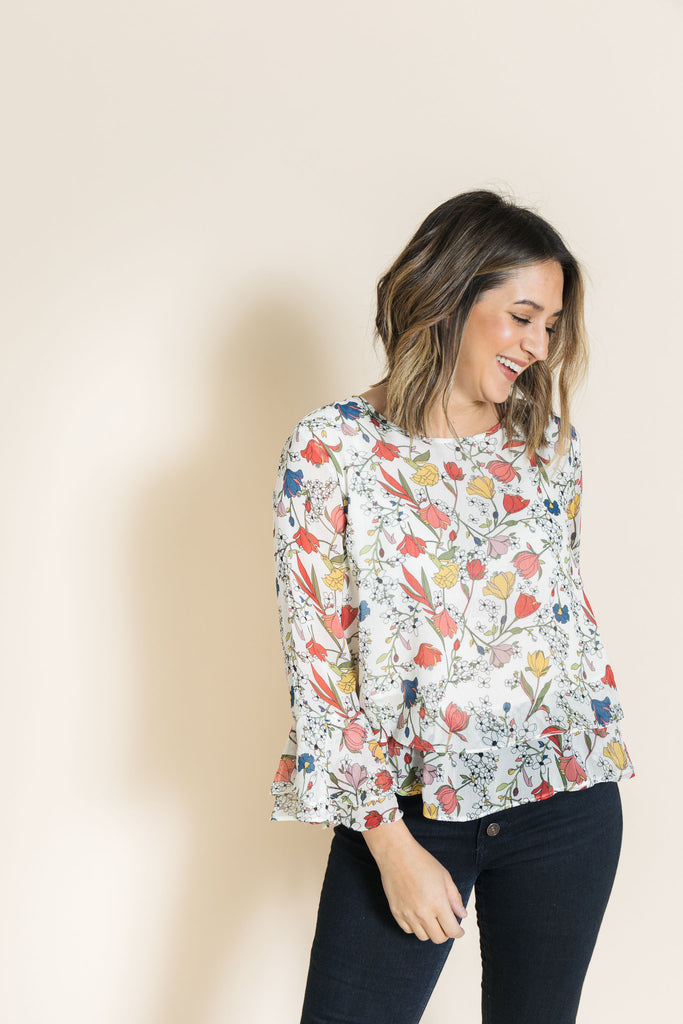 queue floral ruffle top