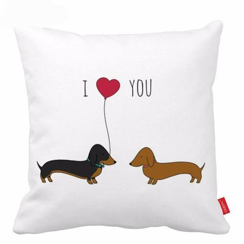 I Love You Dachshund Pillow