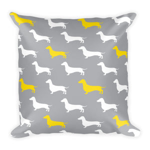 Gray and Yellow Dachshund Pattern Pillow
