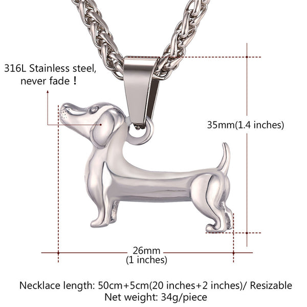 Dachshund Pendant Necklace - Gold / Black / Stainless