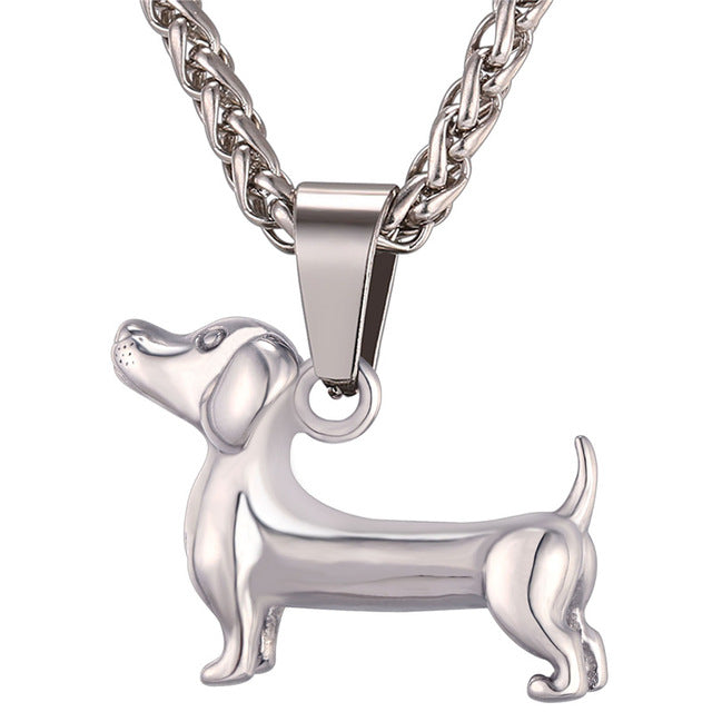 Stainless Dachshund Pendant Necklace at Doxie Pop