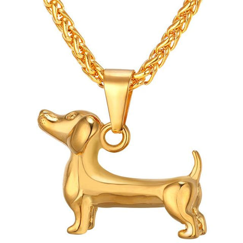 Gold Dachshund Pendant Necklace at Doxie Pop