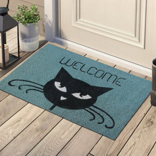 """Welcome"" Cat PVC Tufted Decorative Door Mat"