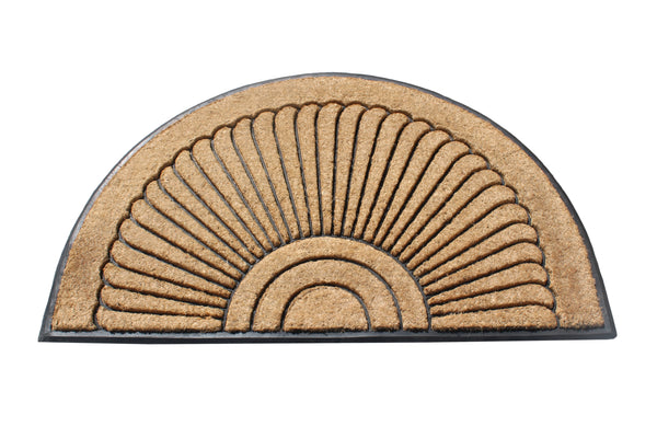 Sunburst Half Moon Rubber and Coir Doormat