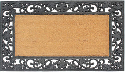 Heavy Weight Black Floral Border Plain Coir Doormat