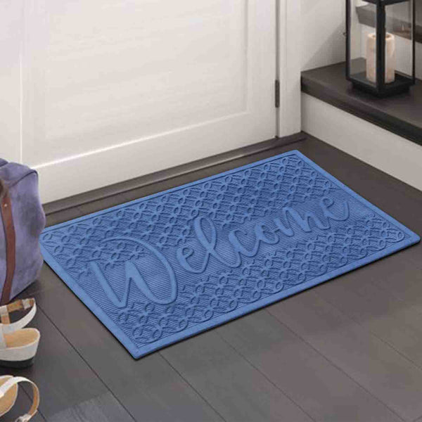 Welcome Eco Poly Blue Entrance Mats with Anti Slip Fabric Finish