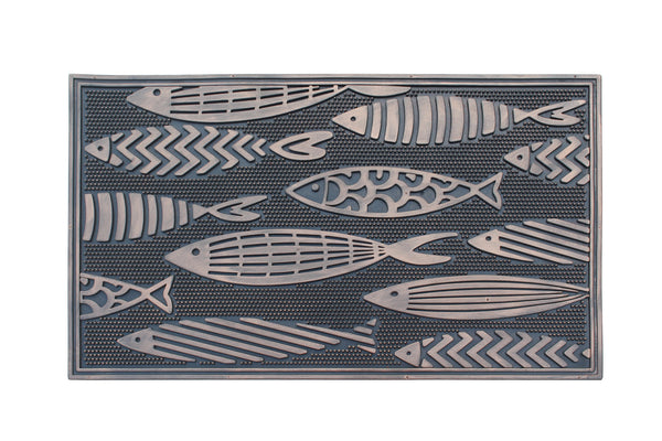 A1HC First Impression Fish Rubber Pin Mat, Black and Copper - A1HCSHOP
