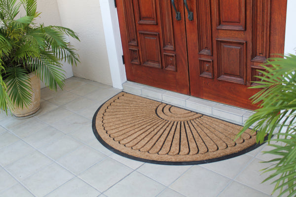 "A1HC -First Impression Unique Sunburst Tapered Edge Black/ Brown Rubber and Coir Half-moon Large Double Doormat (36"" X 72"") - A1HCSHOP"
