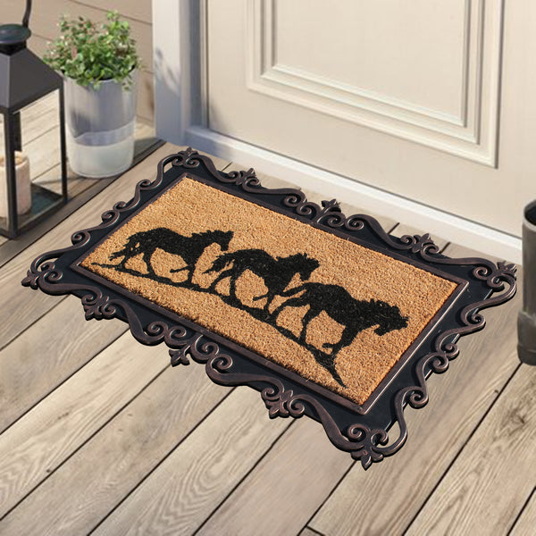'Running Horses' Rubber and Coir Tray Door Mat