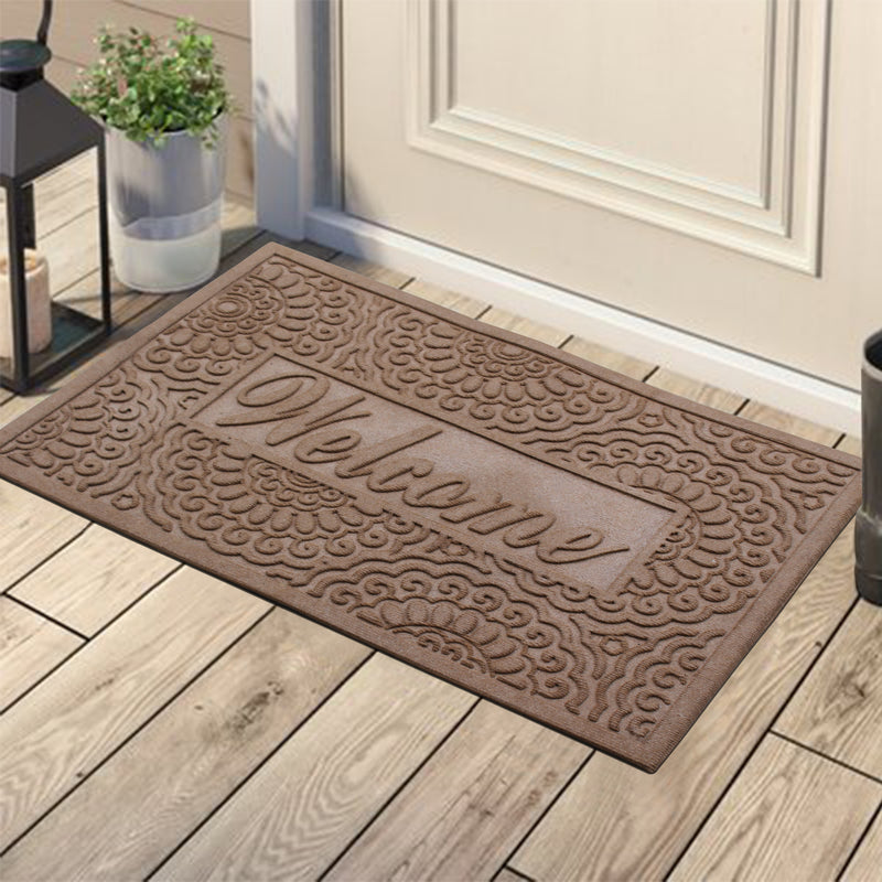 Welcome Eco Poly Beige Entrance Mats with Anti Slip Fabric Finish