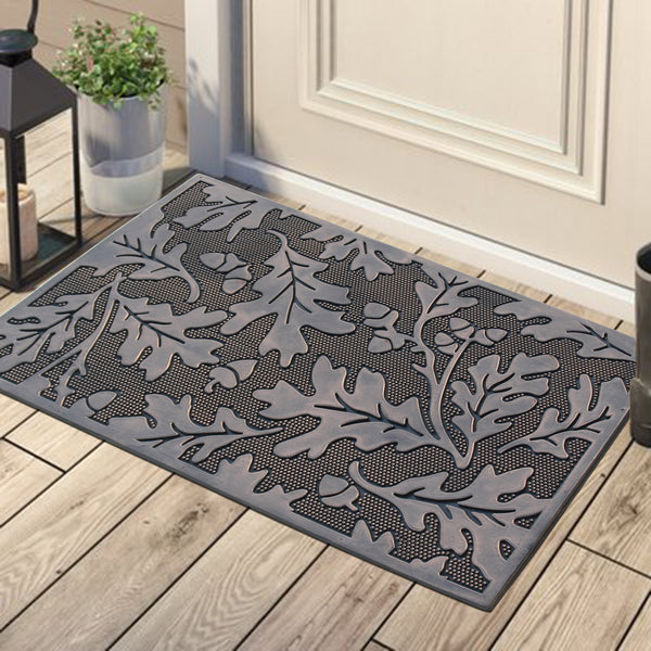 A1HC First Impression Leaves Rubber Pin Mat, Black and Copper - A1HCSHOP