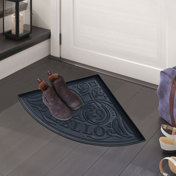 A1HC Hello Triangle Heavy Duty Flexible 21.6 In. X 21.6 In. 100% Rubber Boot Mat. Multi-Purpose for Shoes Tray / Boot Tray, Pets Bowl, Plants, Garden - Mudroom, Entryway, Garage Etc. for All Weather Indoor or Outdoor Use - A1HCSHOP