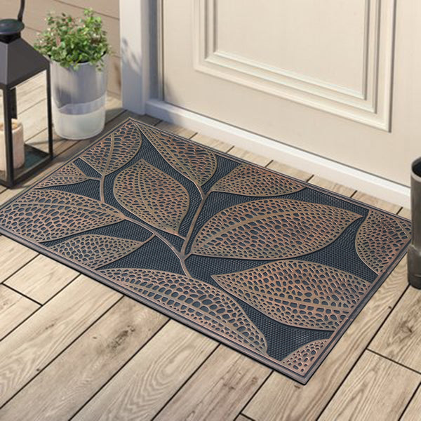 A1HC First Impression Leaf Design Rubber Pin Mat, Black and Copper - A1HCSHOP