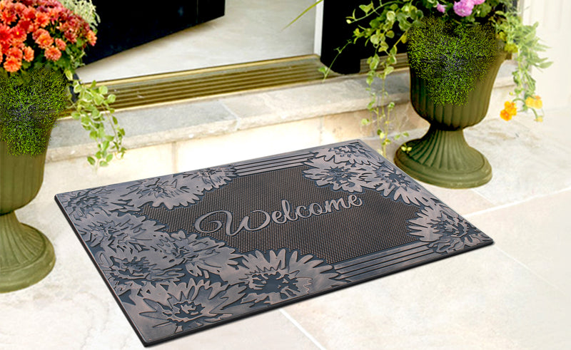 A1HC First Impression Welcome Rubber Pin Mat, Black and Copper - A1HCSHOP