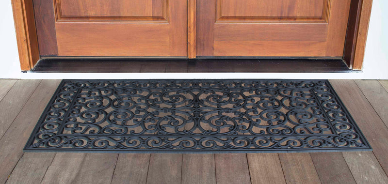 "First Impression Audie Durable And Attractive Rubber Entry Double Doormat (47.25"" X 23.62"")"
