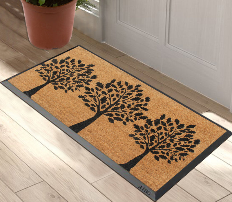 Black Welcome Three Trees Monogrammed Doormats