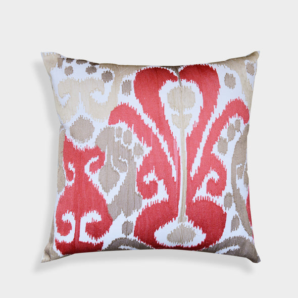 Crewel Embroidered Red Coral Ikat 20-inch Throw Pillow