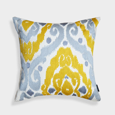 Crewel Embroidered Sunny Yellow-Grey Ikat 20-inch Throw Pillow