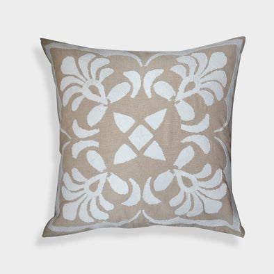 Hand Embroidered Beige/White Floral Cotton 20-inch Throw Pillow