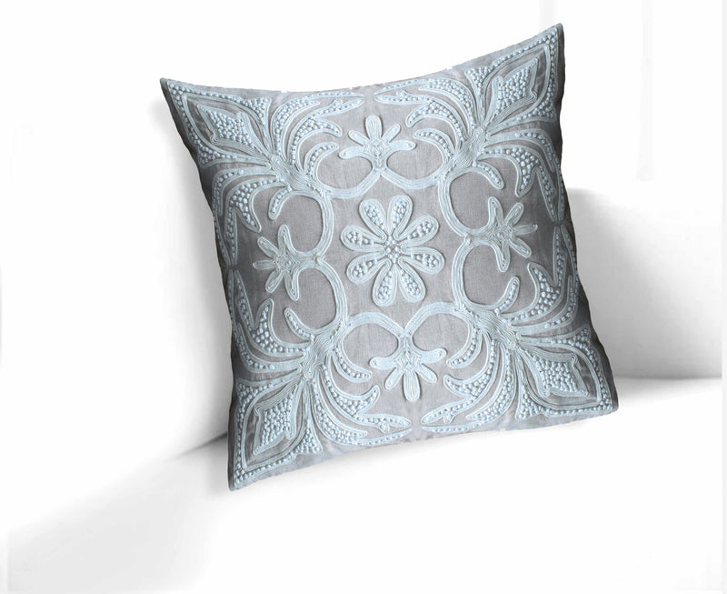 Reva French Knot 22-Inch Linen Throw Pillow