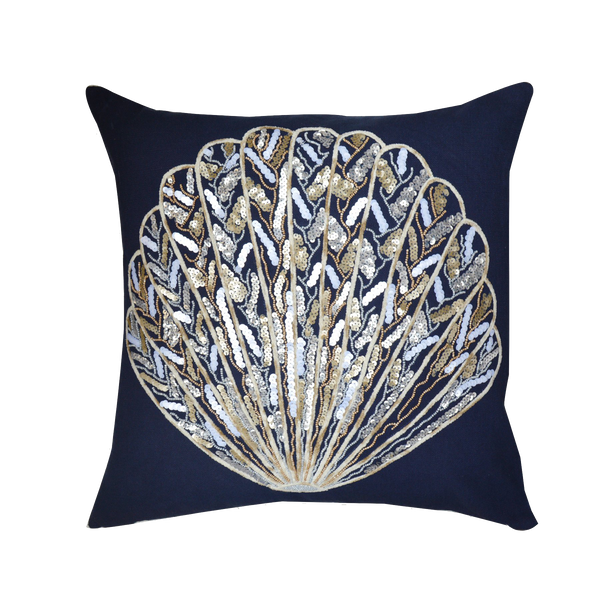 Sequin Shell Decorative Cotton Throw Pillow