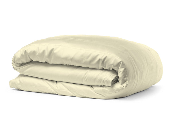 Solid Organic Cotton Wrinkle Resistant Cream Duvet Cover