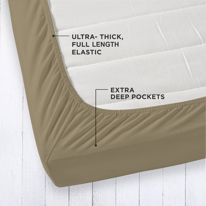 Solid Organic Cotton Wrinkle Resistant Extra Deep Sand Fitted Sheet Set