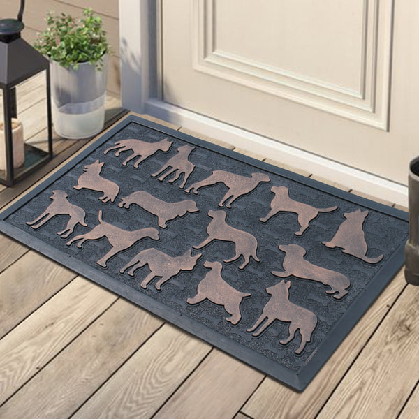 Dogs Rubber Pin Mat,Copper Finished