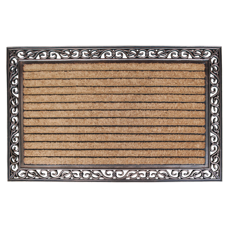 Molded Stripe Rubber and Coir Doormat