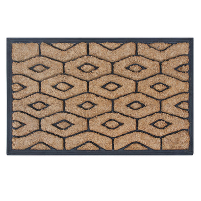 "Molded Honeycomb Rubber and Coir Hand Finished Doormat, 18"" X 30"""