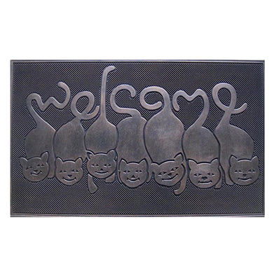 "Rubber Cat Tail Welcome Doormat (18"" X 30"")"