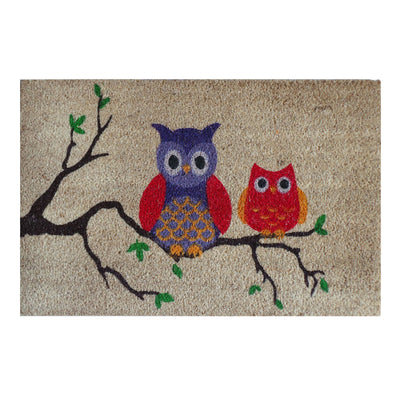 "A1HC -FIRST IMPRESSION Owl Tufted Bleached Coir Doormat, 18"" X 30"""