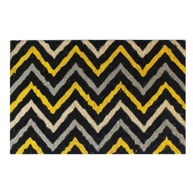 "First Impression Yellow and Black Decorative Chevron Doormat, 18"" X 30"""