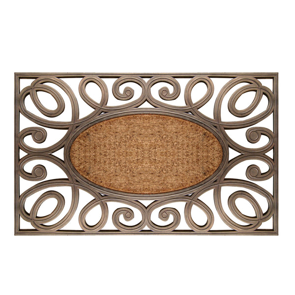 A1HC First Impression Hand-Crafted Large Elegant Circles 23 in. x 38 in. Rubber and Coir Door Mat - A1HCSHOP
