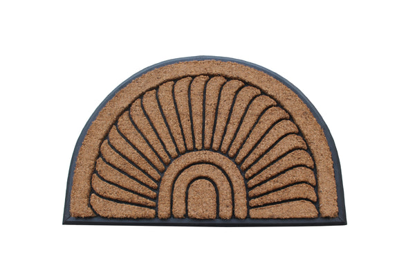 "A1HC Black Doormat Sunburst Half Moon Tapered Edge Black 24""X36"" Large Rubber and Coir Mat - A1HCSHOP"