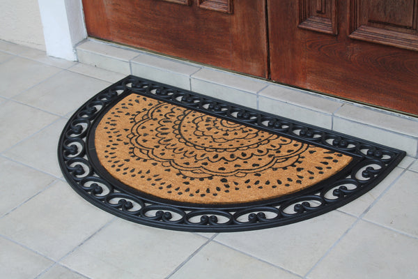 Elegant Half-round Rubber and Coir Doormat