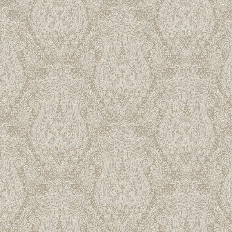 Neutral Paisley Designer Organic Cotton Drapery Panel