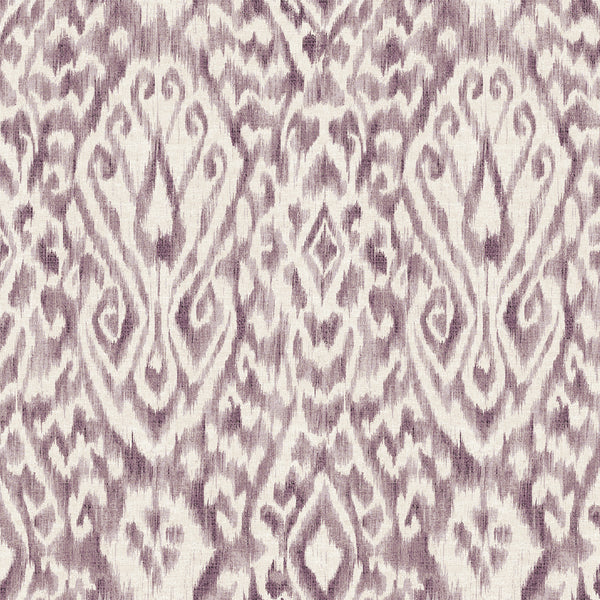 Purple Damask Designer Organic Cotton Drapery