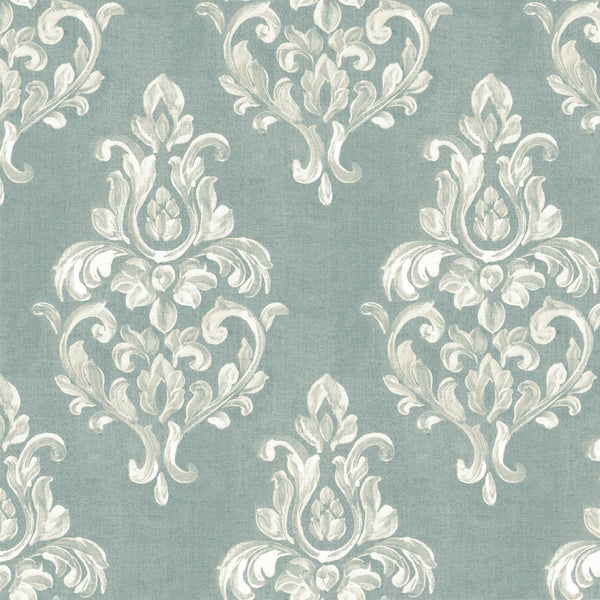 Green/WhiteWhite Designer Damask Organic Cotton Drapery