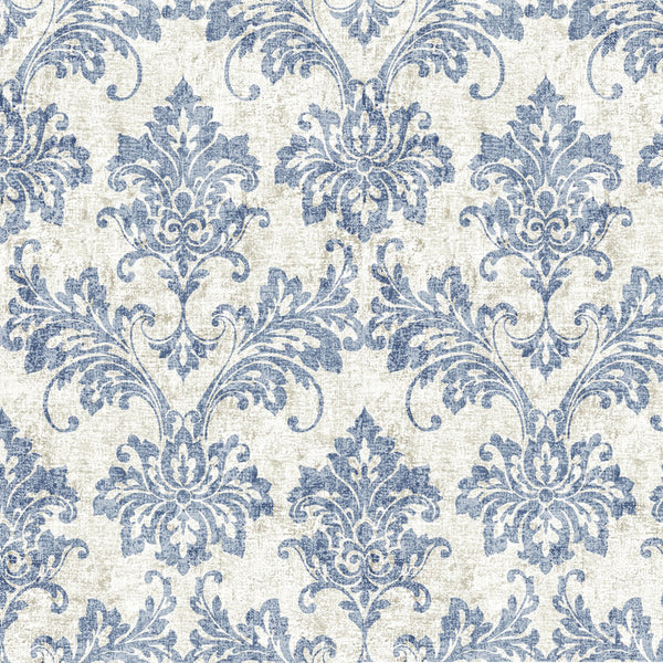 Cara Blue/White Designer Damask Organic Cotton Drapery