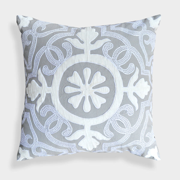 Laverna Grey Floral 20-Inch Throw Pillow