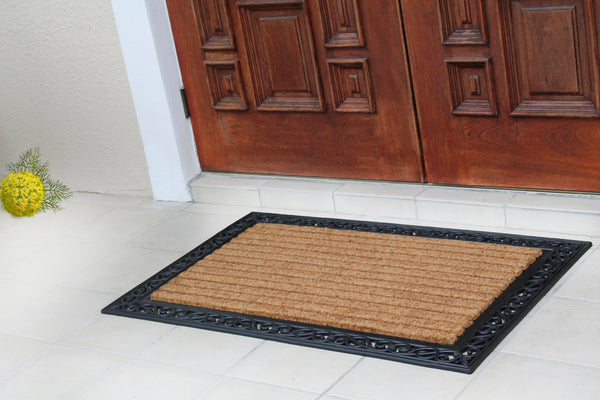 "First ImpressionMolded Large Double Door Rubber and Coir Door Mat (30"" X 48"") - A1HCSHOP"