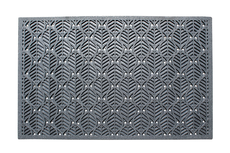 A1HC Leaf Pattern Natural Rubber 24 In. X 36 In. Residential/Commercial Scraper Doormat with Anti Trip Tapered Edge - A1HCSHOP