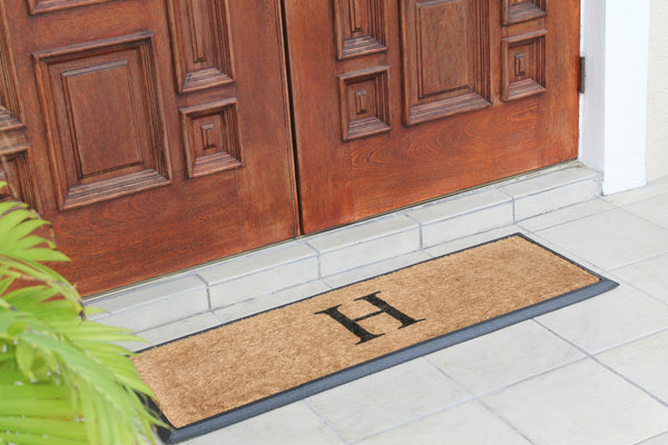 A1HC First Impression Rubber Coir Molded 16-inch x 48-inch Monogrammed Double Doormat - A1HCSHOP