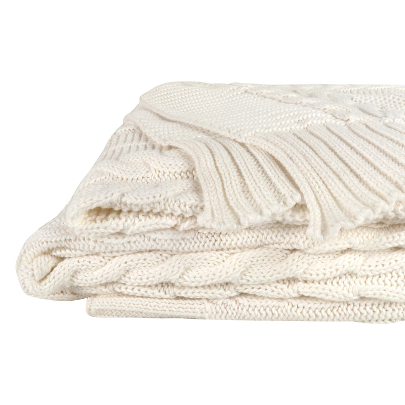 Organic Cotton Broad Cable Knit Throw SoftWhite