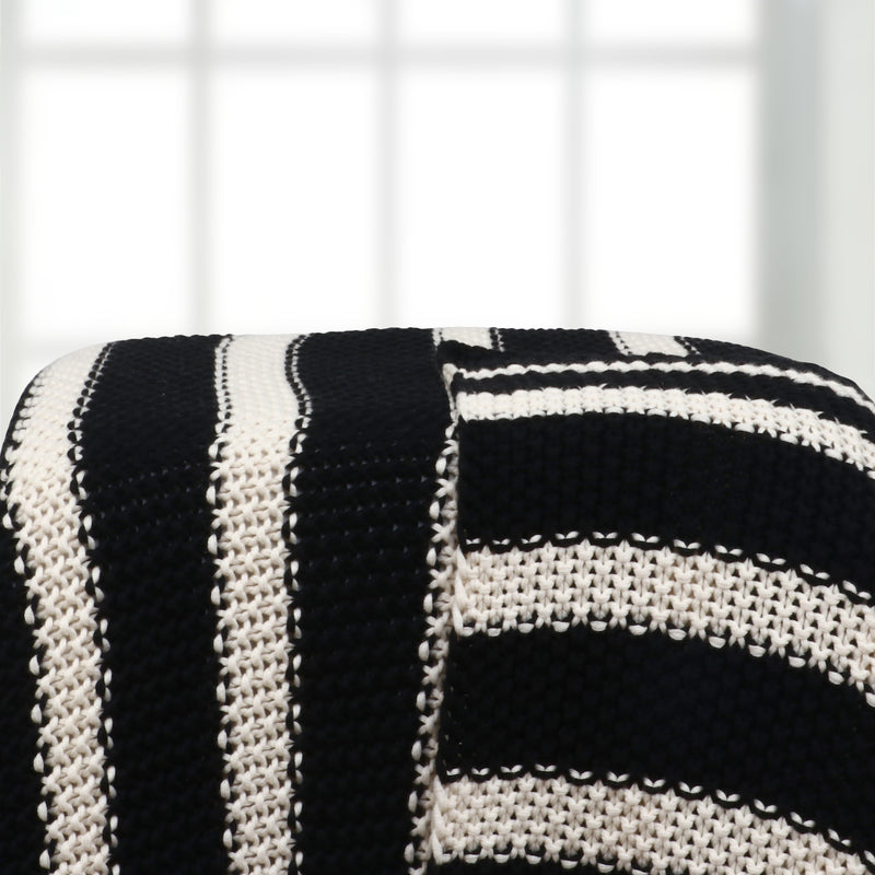 Moss Stitch Stripe Cotton Throw Blanket