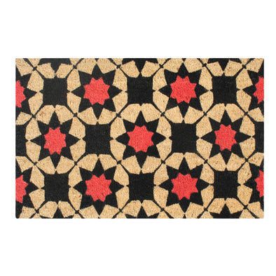 "A1HC First Impression Engineered Anti-shred Treated Payton Geometric Fade-resistant Bleached Coir Doormat, 18"" X  30"