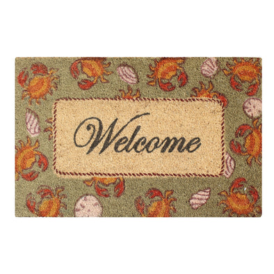 "Multicolored Bleached Anti Shread Treated Coir/ PVC Welcome Doormat, 18"" X 30"""